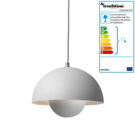 FlowerPot suspension lumineuse &Tradition, gris mat